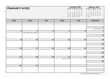 2022 Australia Calendar For Vacation Tracking