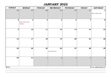 2022 Australia Monthly Calendar with Notes