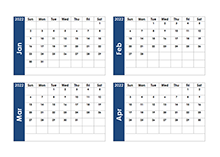 2022 Blank Four Month Calendar