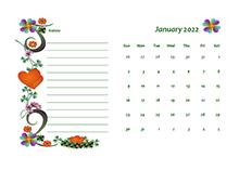 2022 Blank Calendar Design Template