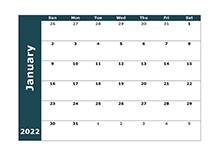 2022 Monthly Blank Calendar