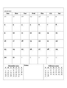 2022 Blank Monthly Planner
