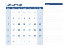 2022 Blank Printable Calendar