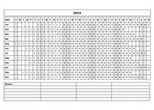 2022 Blank Landscape Yearly Calendar Template