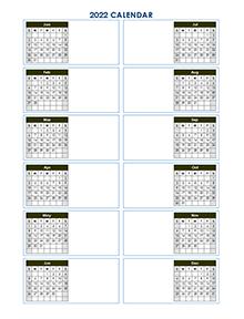 2022 Blank Yearly Calendar Template Vertical Design