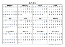 2022 Blank Yearly Calendar Template