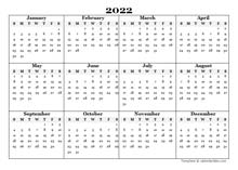 2022 Blank Yearly Word Calendar Template