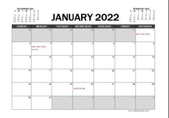 2022 Calendar Planner Australia Excel
