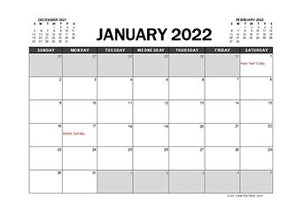 2022 Calendar Planner Singapore Excel