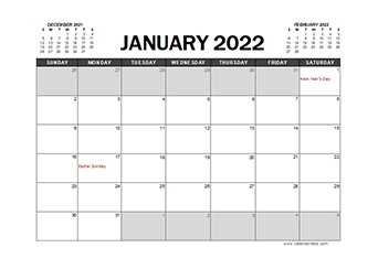 2022 Calendar Planner UAE Excel