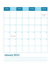 2022 Months Calendar Template