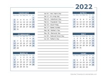2022 Calendar Template 6 Months Per Page