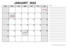 2022 Calendar with Australia Holidays PDF