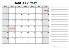 2022 Calendar with India Holidays PDF