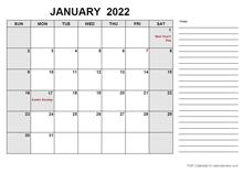 2022 Calendar with South Africa Holidays PDF