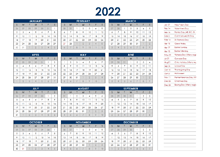 2022 Canada Annual Calendar with Holidays