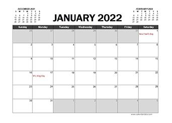 Monthly 2022 Excel Calendar Planner