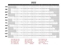 2022 Excel Calendar Project Timeline