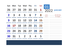 2022 Excel Calendar For Vacation Tracking