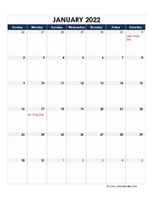 2022 Excel Monthly Calendar Template