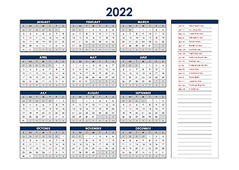 2022 Excel Yearly Calendar