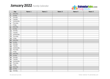 2022 Monthly Planner Template