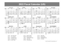 2022 USA Fiscal Quarter Calendar
