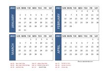 2022 Four Month Calendar with Australia Holidays