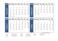 2022 Four Month Calendar with Malaysia Holidays