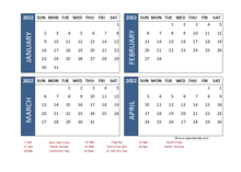 2022 Four Month Calendar with UK Holidays