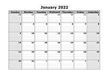 2022 Free Blank Calendar