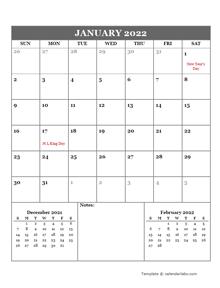2022 Google Docs Monthly Planner