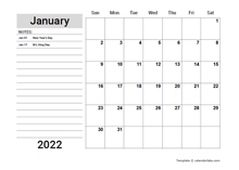 2022 Google Docs Planner With Holidays