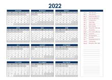 2022 India Annual Calendar with Holidays