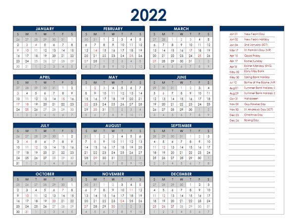 2022 Ireland Annual Calendar with Holidays