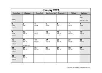 2022 Julian Calendar