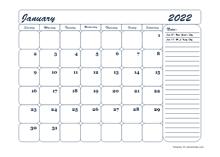2022 Monthly Blank Calendar Template
