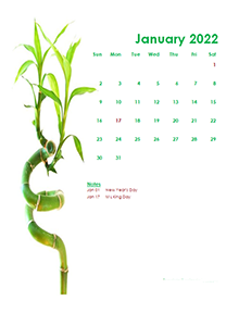 2022 Monthly Calendar Template Green Design