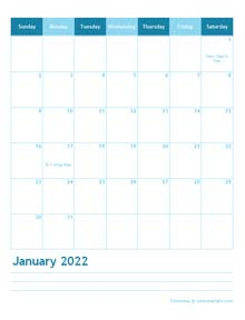 2022 Monthly Word Calendar Template Portrait