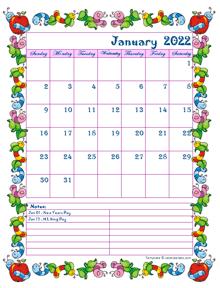 2022 Monthly Kid KIndergarten Calendar Template