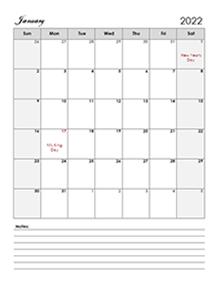2022 Calendar Template Large Boxes