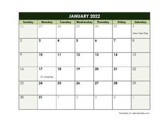 2022 Monthly Google Docs Calendar Template
