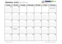 2022 Monthly Menu Planner