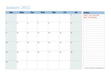 2022 Monthly OneNote Calendar