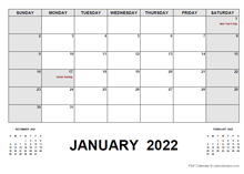 2022 Monthly Planner with South Africa Holidays