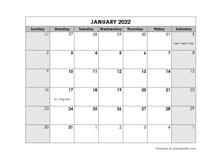 2022 Monthly Word Calendar Template With Holidays