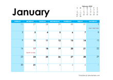 2022 New Zealand Monthly Calendar Colorful Design