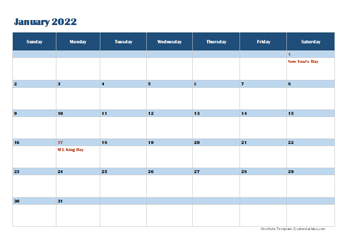 2022 OneNote Calendar Template