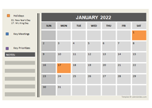 2022 Powerpoint Calendar With Holidays