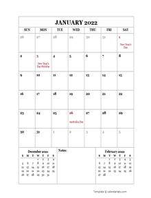 2022 Printable Calendar with Australia Holidays